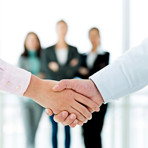 Close-up of business people shaking hands.